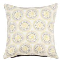 Housse de coussin en coton à motifs jaune et écru 40x40 Silam