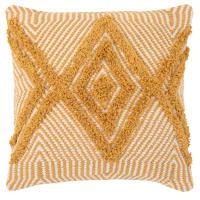 Housse de coussin en coton beige et jaune motifs graphiques 40x40 Abutilon