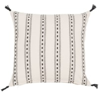 Housse de coussin en coton blanc motifs noirs 40x40cm Rhodes