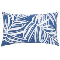 Housse de coussin en coton bleu imprimé feuilles 30x50 Fira