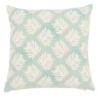 Housse de coussin en coton bleu imprimé feuilles 40x40 Hawai