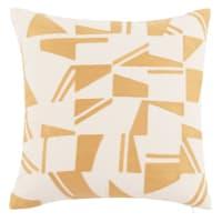 CHARLOIS - Housse de coussin en coton écru à motifs jaunes 40x40