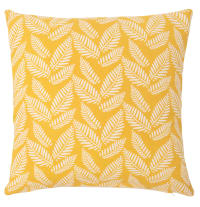Housse de coussin en coton motifs feuilles jaunes 40x40 Pylea