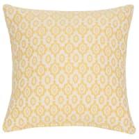 Housse de coussin en coton motifs jacquard jaunes 40x40cm Ales