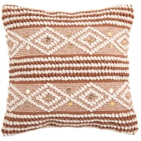 SAMALYA - Housse de coussin en coton tissé orange à motifs blancs 40x40