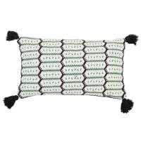 ALIANDRO - Lot de 2 - Housse de coussin en coton vert, noir et écru à pompons 30x50