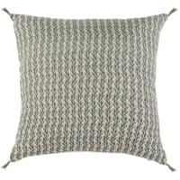 COVILHA - Housse de coussin en lin lavé vert et beige 40x40