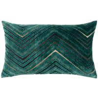 ASCOT - Housse de coussin motifs graphiques vert et doré 30x50