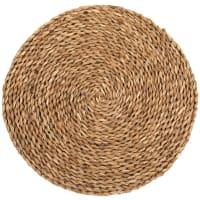 Lote de 2 - Individual de mesa redondo de fibra vegetal entrançada