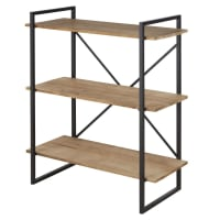 STATEN - Industrial shelving unit in solid pine and black metal