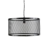Industriële hanglamp van zwarten metalen met raster Louis