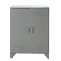 Industriële kabinetkast met 2 plankjes van grijs metaal Sunset