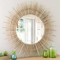 round mirror, bamboo D 90cm Isis