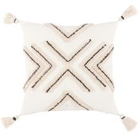 GUISSER - Ivory, black and beige tufted cushion cover with tassels 40x40cm