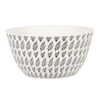 CLEMENCE - Ivory stoneware salad bowl with olive green graphic print
