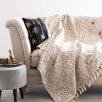 TAKHLI - Jacquard woven cotton throw with fringe 130x170cm