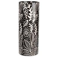 Jarrón cilíndrico de gres negro con estampado de hojas blanco 29 cm