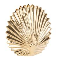 SHELL - Jarrón de cerámica estriada dorada 16 cm