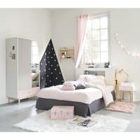 Jogo de cama de algodão cinzento e cor-de-rosa 140x200cm Joy