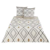 AMA - Jogo de cama de algodão com estampado cor linho, cinzento, preto e amarelo 220x240