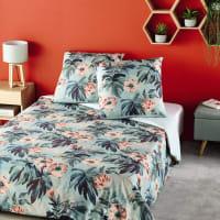 Jogo de cama de algodão com motivos tropicais azul-esverdeado 220x240 Flowers