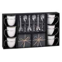 Juego de 6 tazas de café de porcelana con platillos + cucharas Ardoise