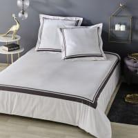 Juego de cama de algodón color crudo con estampado gris antracita 220x240 Elegance