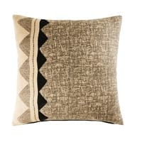 Jute and Cotton Cushion with Graphic Motifs 50x50