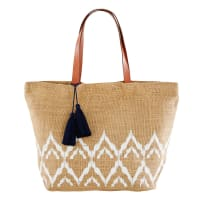 Jute Beach Bag with White Graphic Motifs