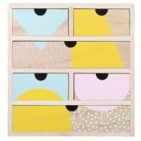 Kästchen mit 6 Schubladen aus Paulownienholz mit farbigen Motiven