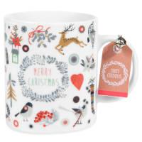 MERRY CHRISTMAS - Set aus 2 - Kaffeebecher aus Porzellan, bedruckt mit Tiermotiv