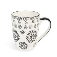 Kaffeebecher  aus Keramik, schwarz/ weiß Chiang Mai