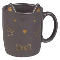 Kaffeebecher Katze aus grauem Steingut