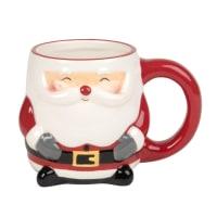HOHOHO - Set aus 2 - Kaffeebecher Weihnachtsmann aus Fayence