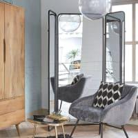 Kamerscherm met spiegel en zwart metaal Dawson
