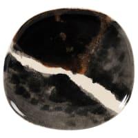 STOLEN - Set van 6 - Kastanjebruin, wit en zwart plat bord van gres