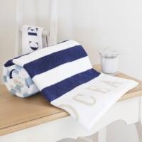 Katoenen badhanddoek, blauwe streep, 50 x 100 cm, Océan