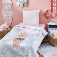 Katoenen kinderdekbedovertrek met roze, groene en witte print 140 x 200 Sunset
