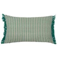 Katoenen kussenhoes met groene franjes 30x50 Piorini