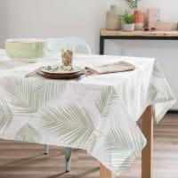 Katoenen tafellaken met bladprint 250x150cm Palme