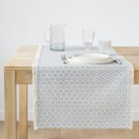 Katoenen tafelloper met bloemenmotief 48x150 Jonquille