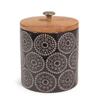 Keramikdose H 11 cm schwarz Tribu