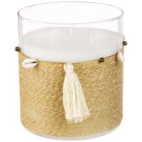 Kerze im Glasbehälter mit Pompons und Muscheln Bangor