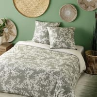 Khaki Cotton Bedding Set with Beige Floral Print 220x240 Canopee