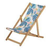 IONNA - Kinderligstoel uit massief acacia met roze, blauwe en groene bedrukte tropische bekleding