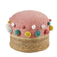 Kinderpoef met pompons van roze jute Tropicool