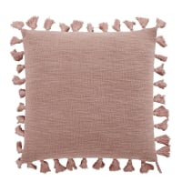 LIMANA - Kissen aus Baumwolle mit Quasten, pudriges Rosé, 50x50cm