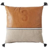 Kissen aus beigefarbener Baumwolle und kastanienbraunem Leder 45x45 Orson