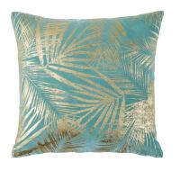 BACKERSFIELD - Kissen aus blauem Samt mit goldenem Laubwerk-Aufdruck 45x45