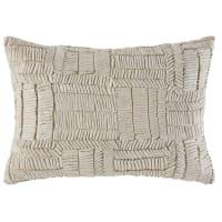 Kissen aus ecru- und silberfarbener Baumwolle mit grafischen, reliefartigen Motiven 35x50 Zofia